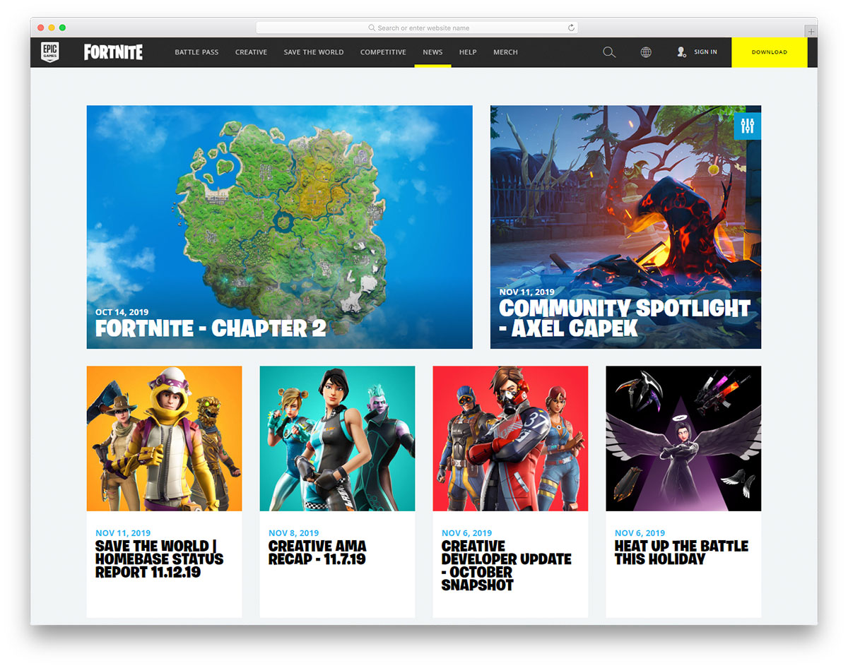 Epic Games - Fortnite - Gaming Blog Design