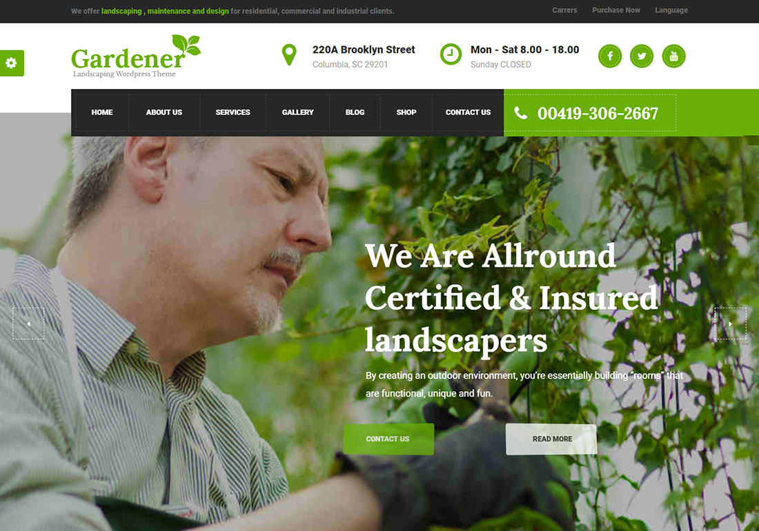 Gardener Landscaping Website Template