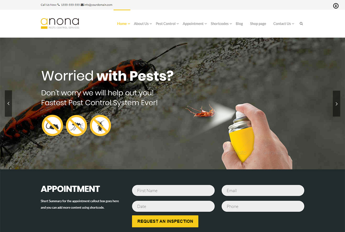 Anona Pest Control WordPress Theme