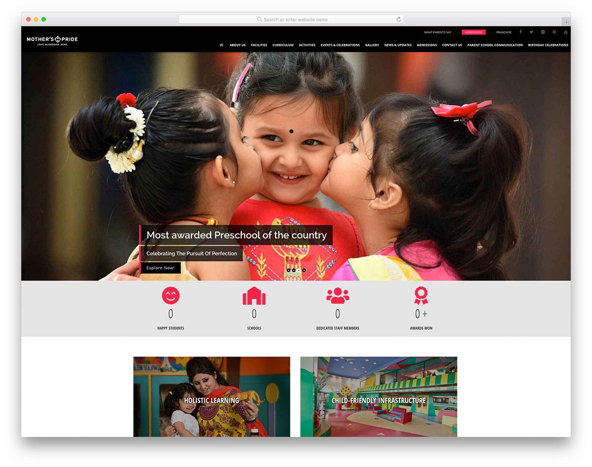 Mother's Pride kindergarten website