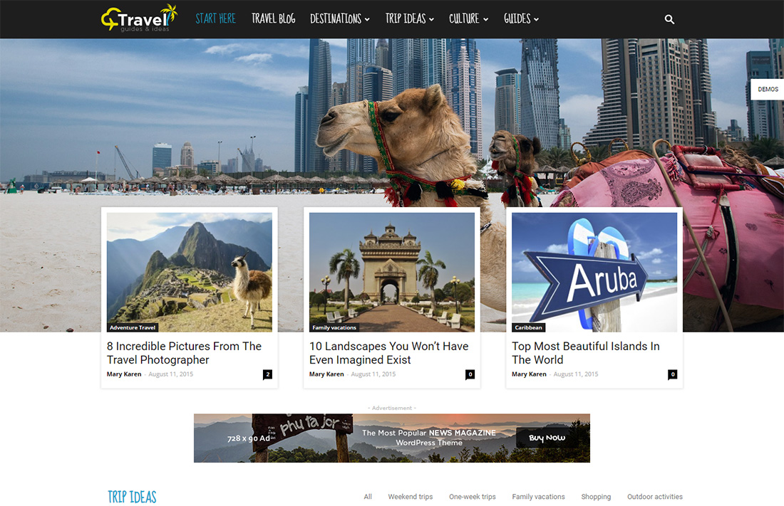 newspaper travel magazine theme