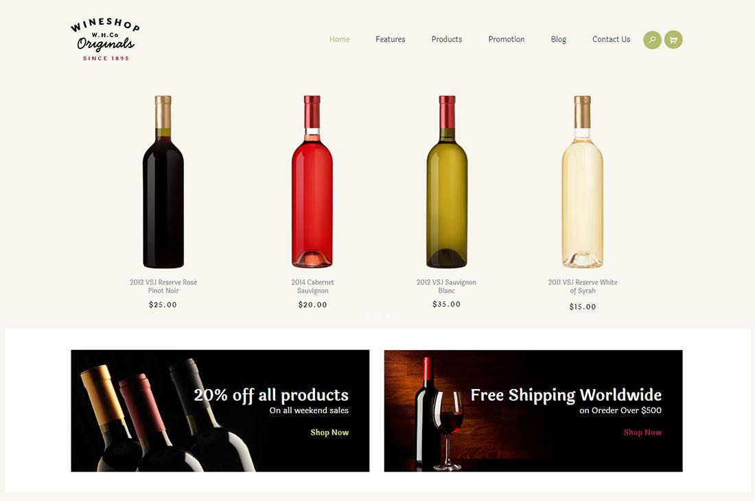 wineshop wine shop WordPress theme