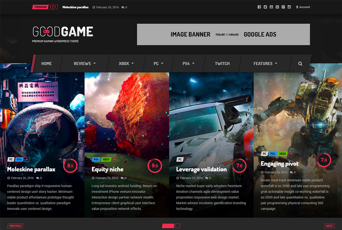 Goodgame WordPress Live Streaming Theme