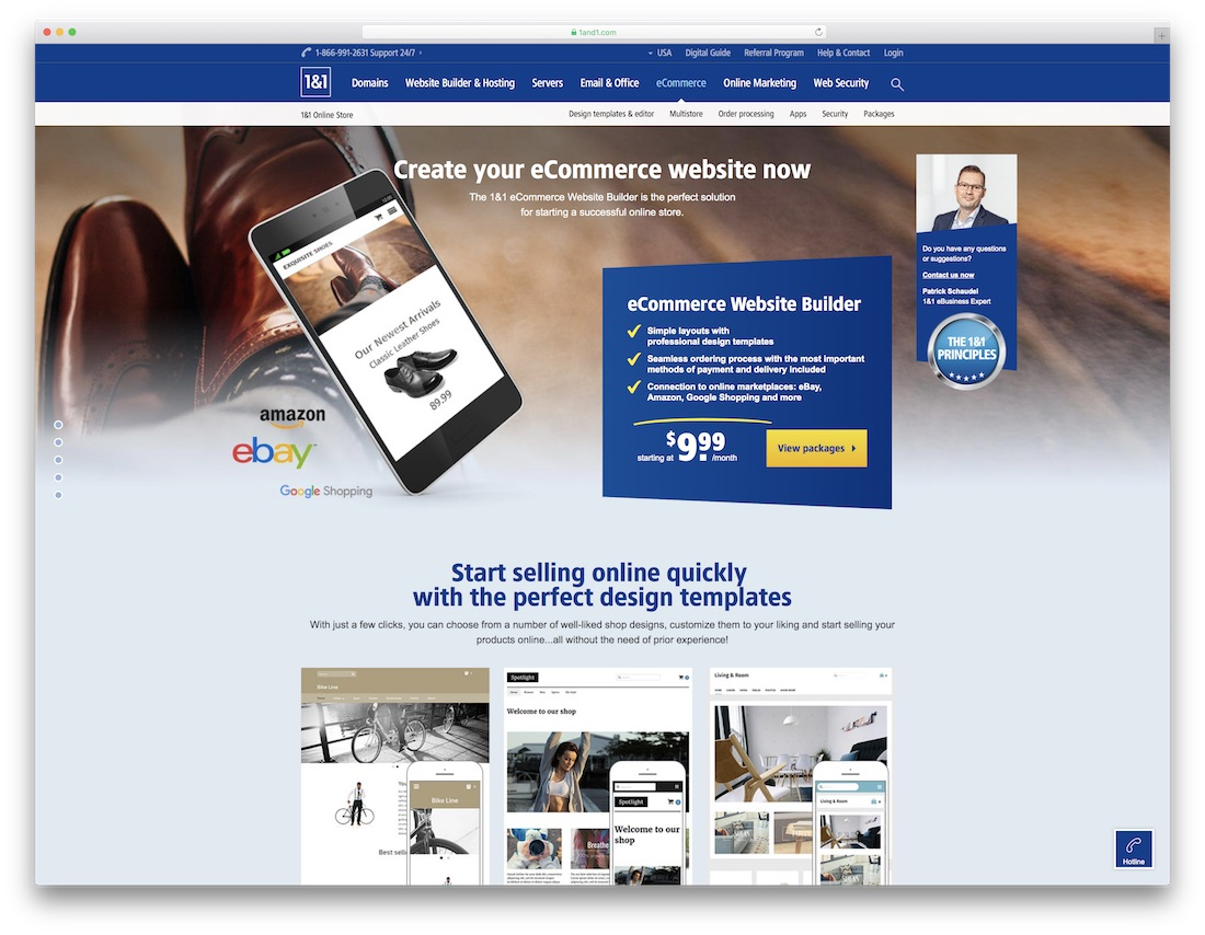1and1 cheap ecommerce website builder