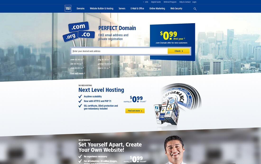 1 and 1 web hosting personal website