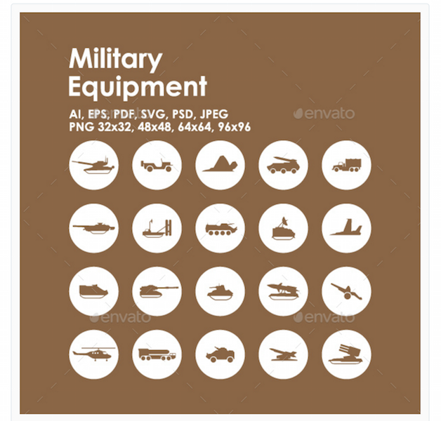 20 Military Equipment Icons
