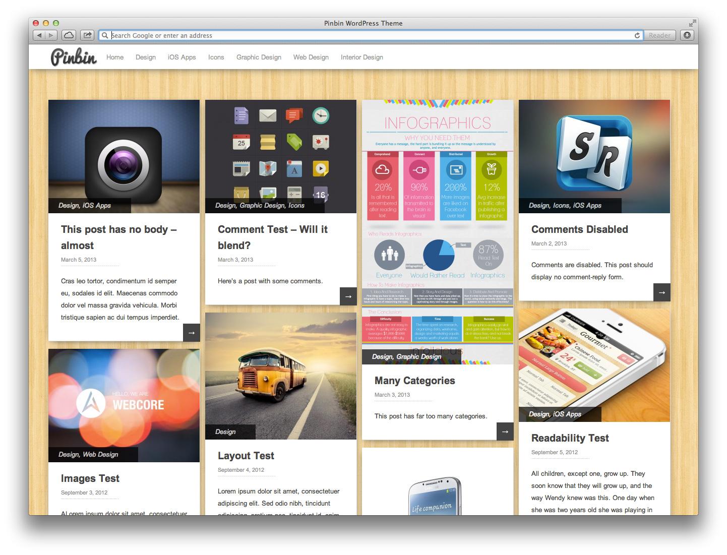 Pinbin Theme on Desktop web Broswer