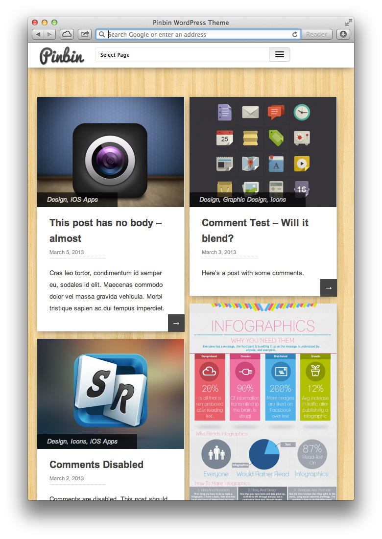 Pinbin Theme on Tablets