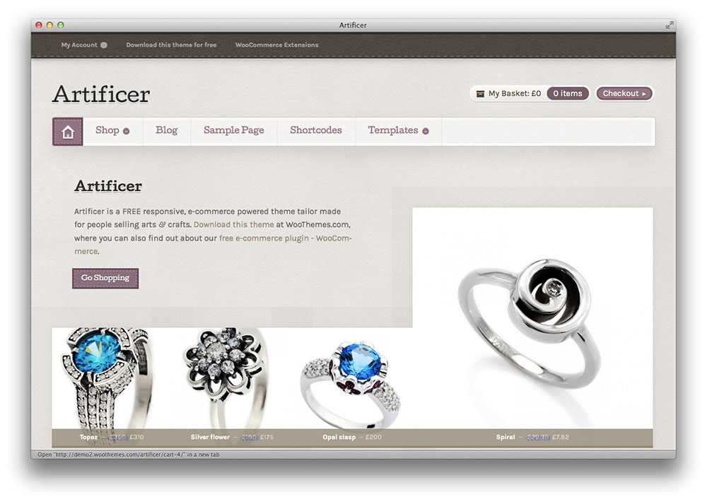 Artificer WooThemes WordPress theme