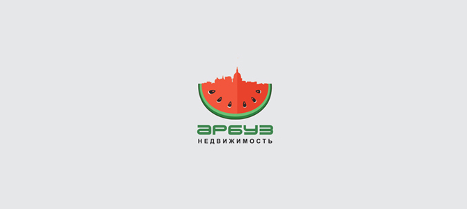Real Estate Agency Watermelon Flat Logo