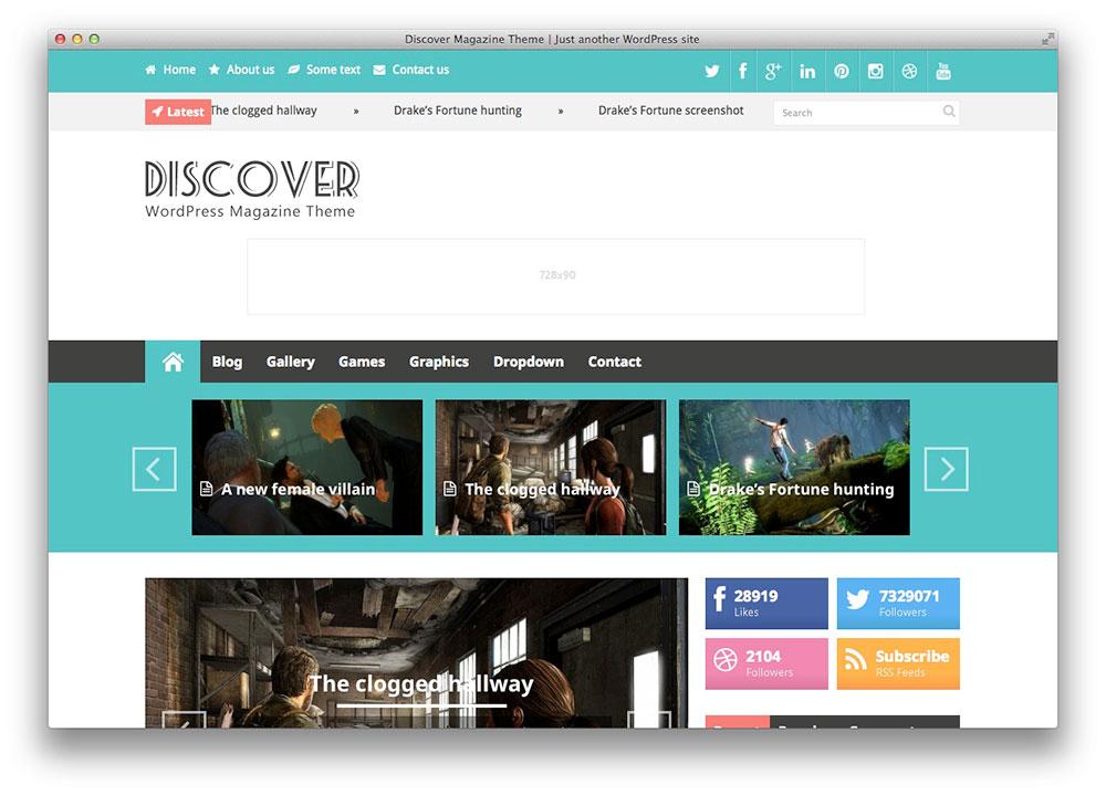 Descubra - Tema WordPress revista plana