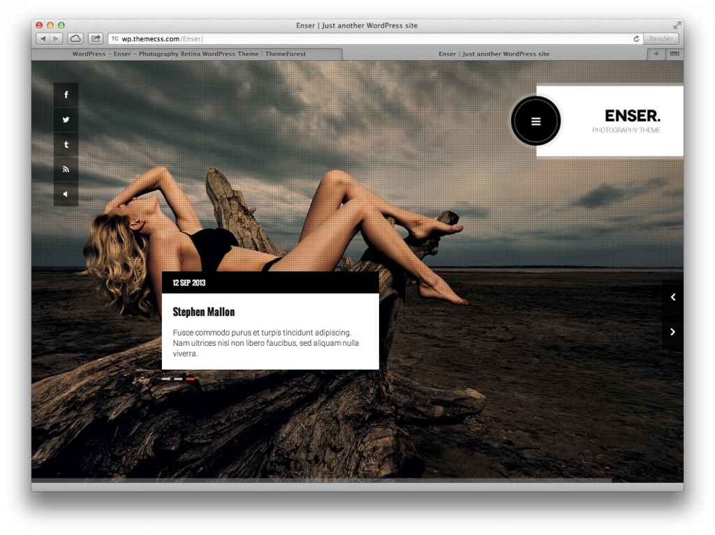 Enser Photography WordPress theme