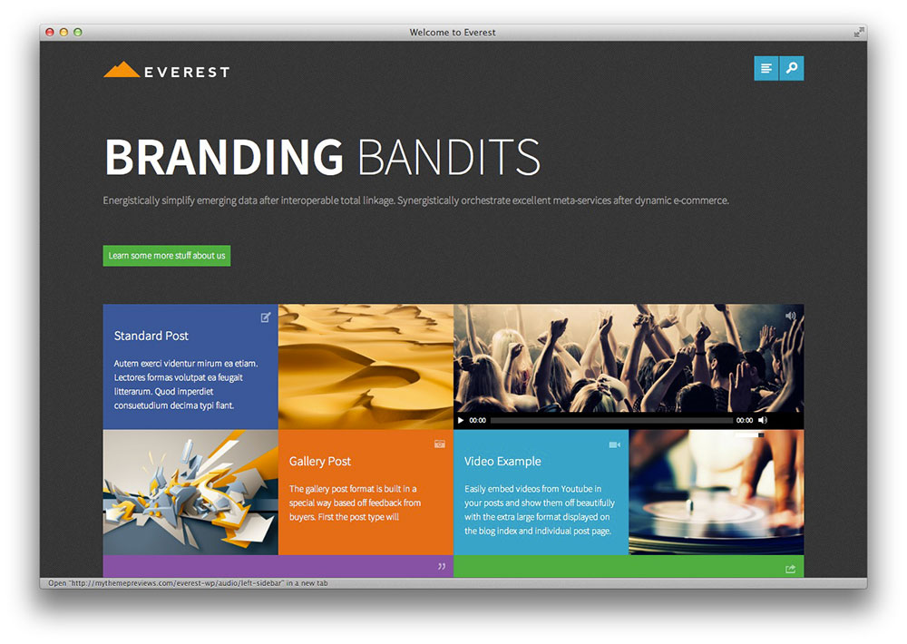 Everest portfolio WordPress theme