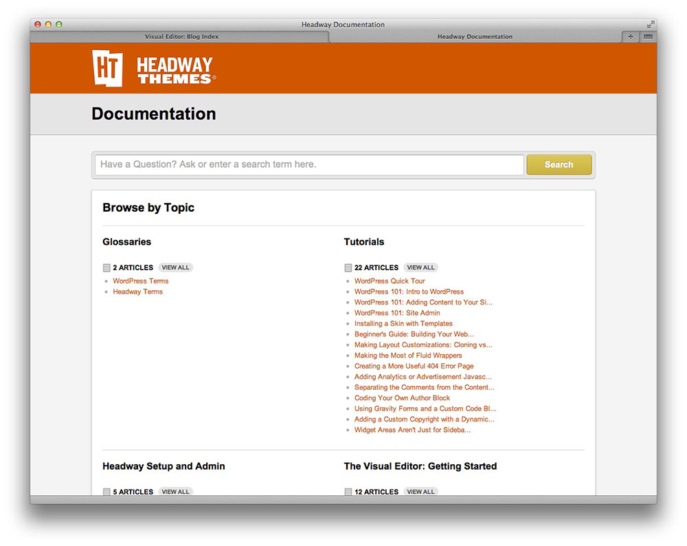 headway documentation