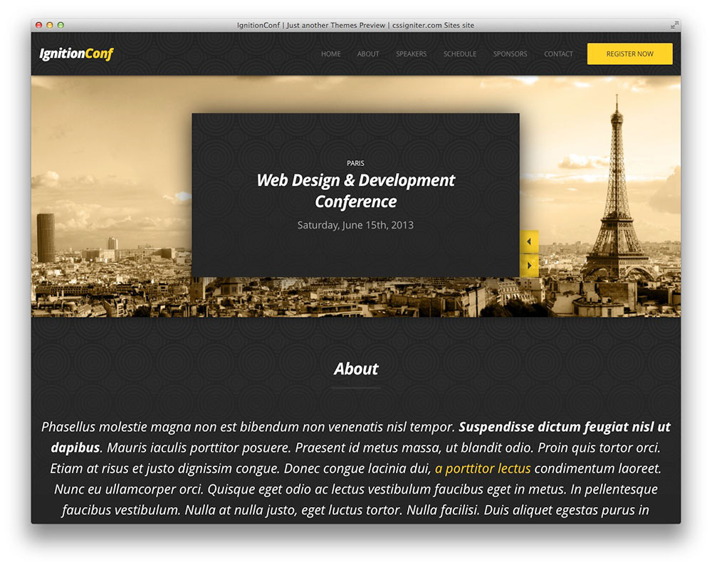 IgnitionConf WordPress conference theme