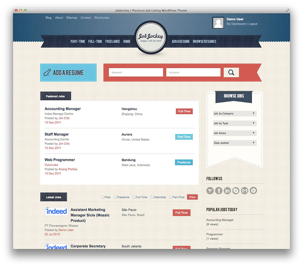 best wordpress job board themes for awesome job portal web sites own professional job board portal in minutes it provides front end listing submission automated payment options and custom built search algorithm