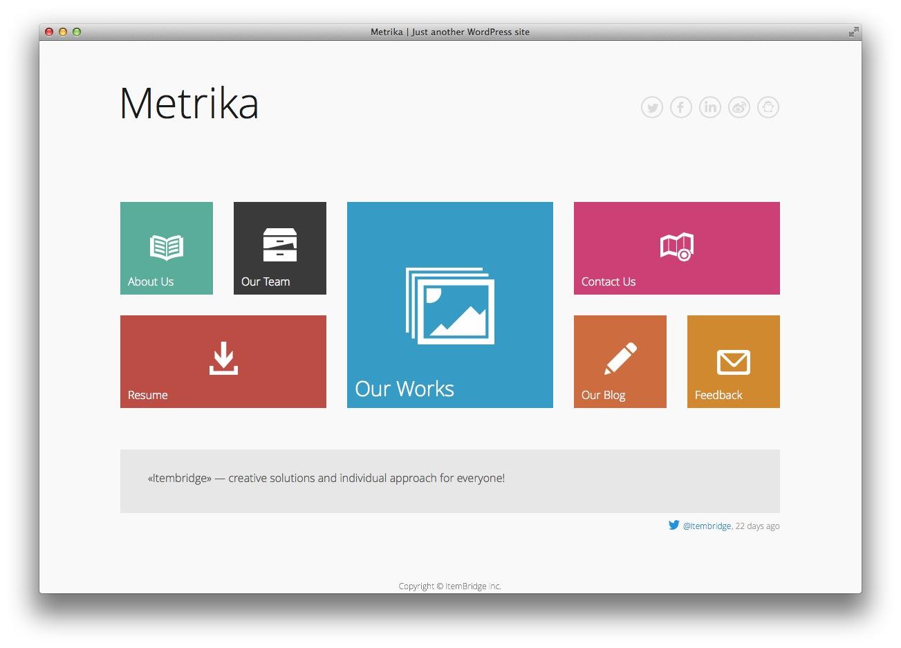 Metrika - Responsive Tema WordPress OnePage