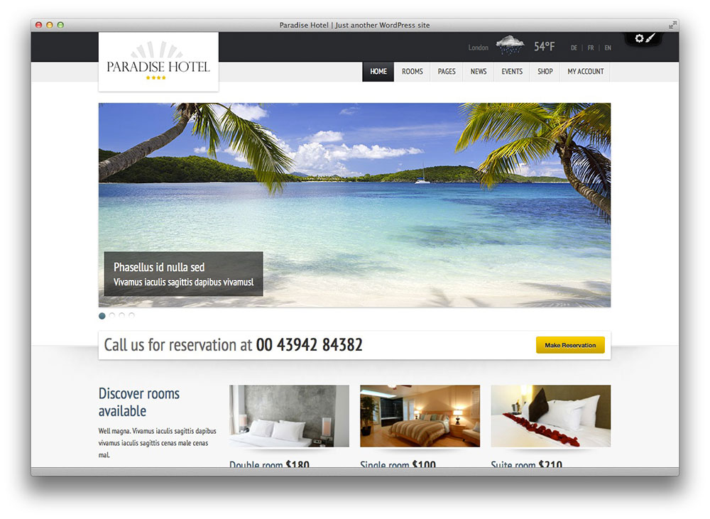 Paradise Hotel WordPress theme