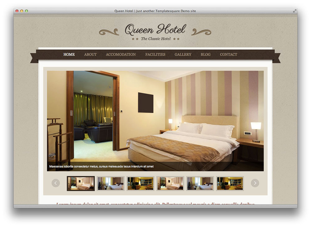 Queen Hotel - Classic and Elegant WordPress Theme