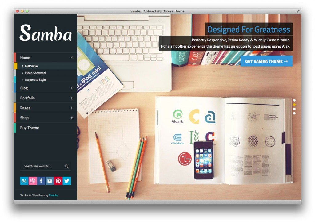 Samba Portfolio theme and WooComerce store