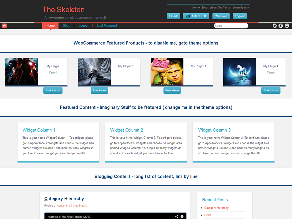 the skeleton WordPress theme