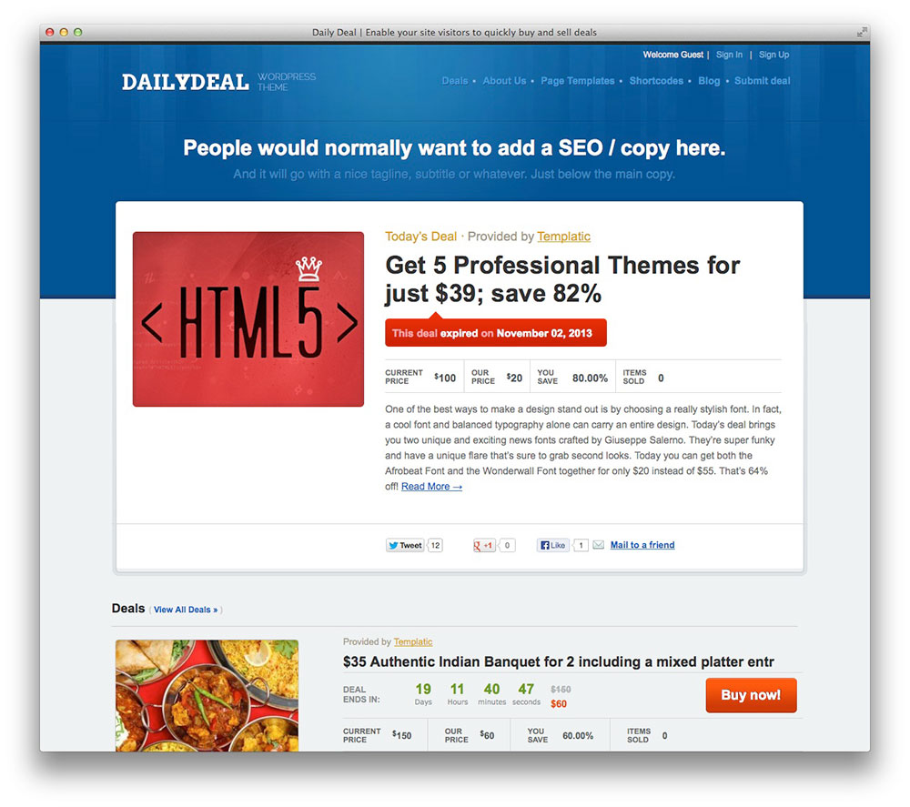 Daily Deal WordPress theme