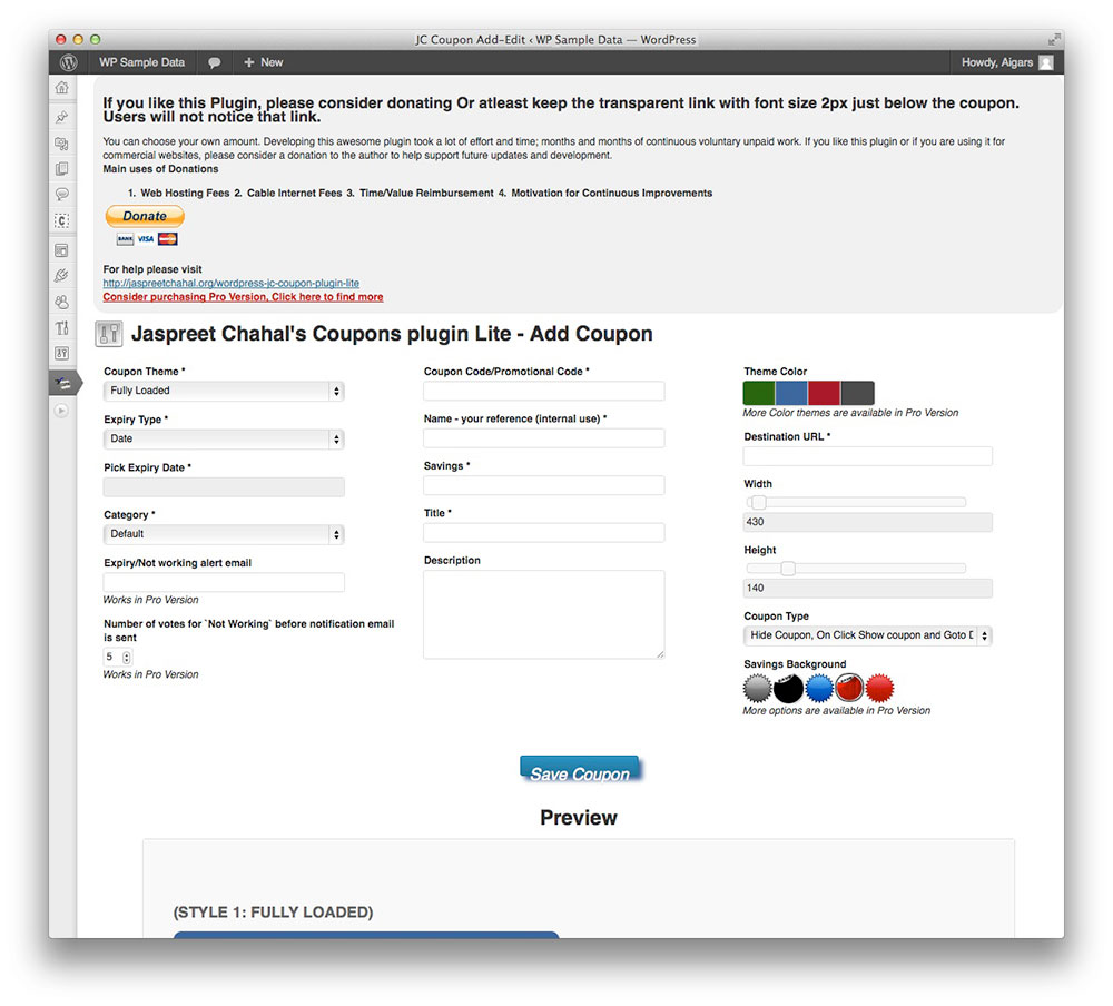 Creating a coupon code i will now explain the setup step by step - Jc Coupon Wordpress Plugin