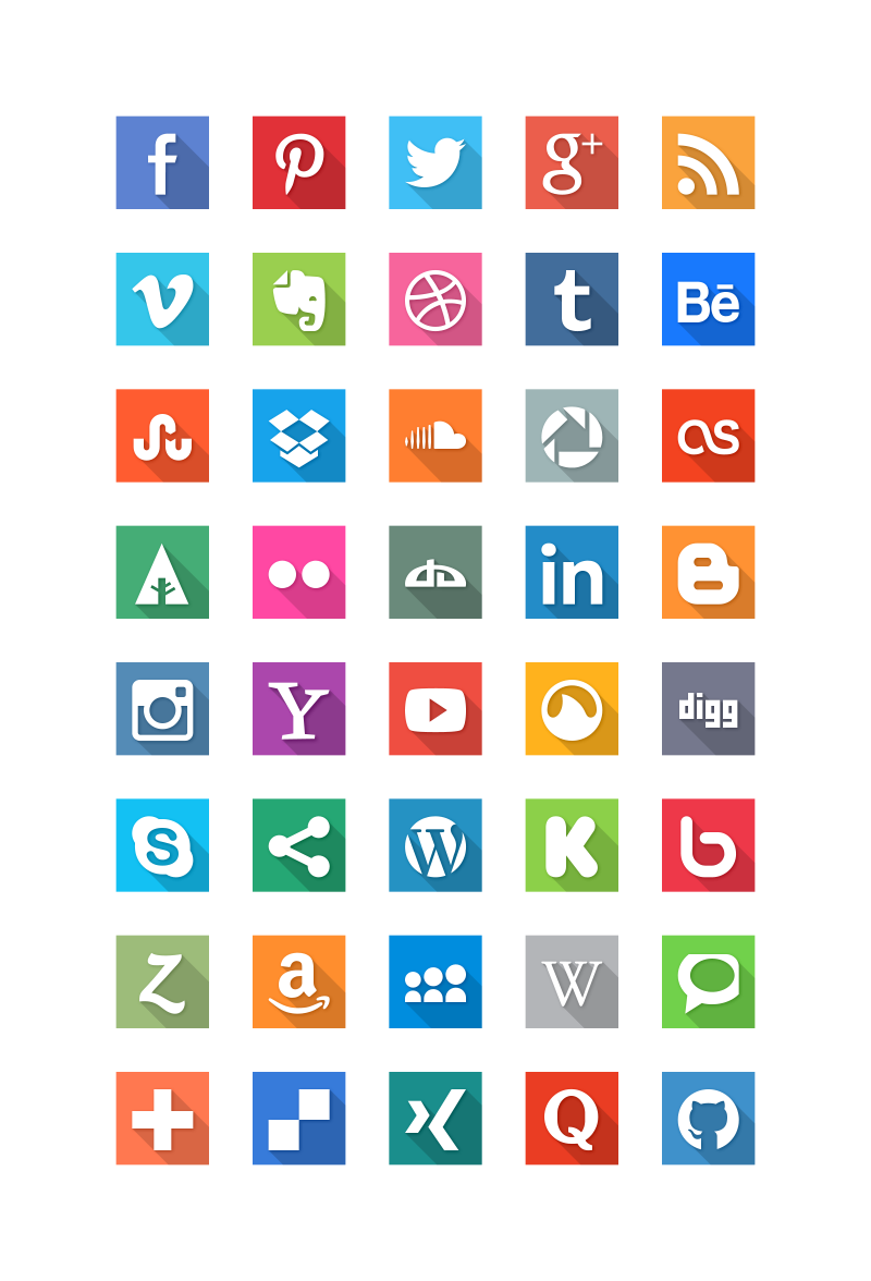 Top Social Media Icons Social Media Flat Icons Long