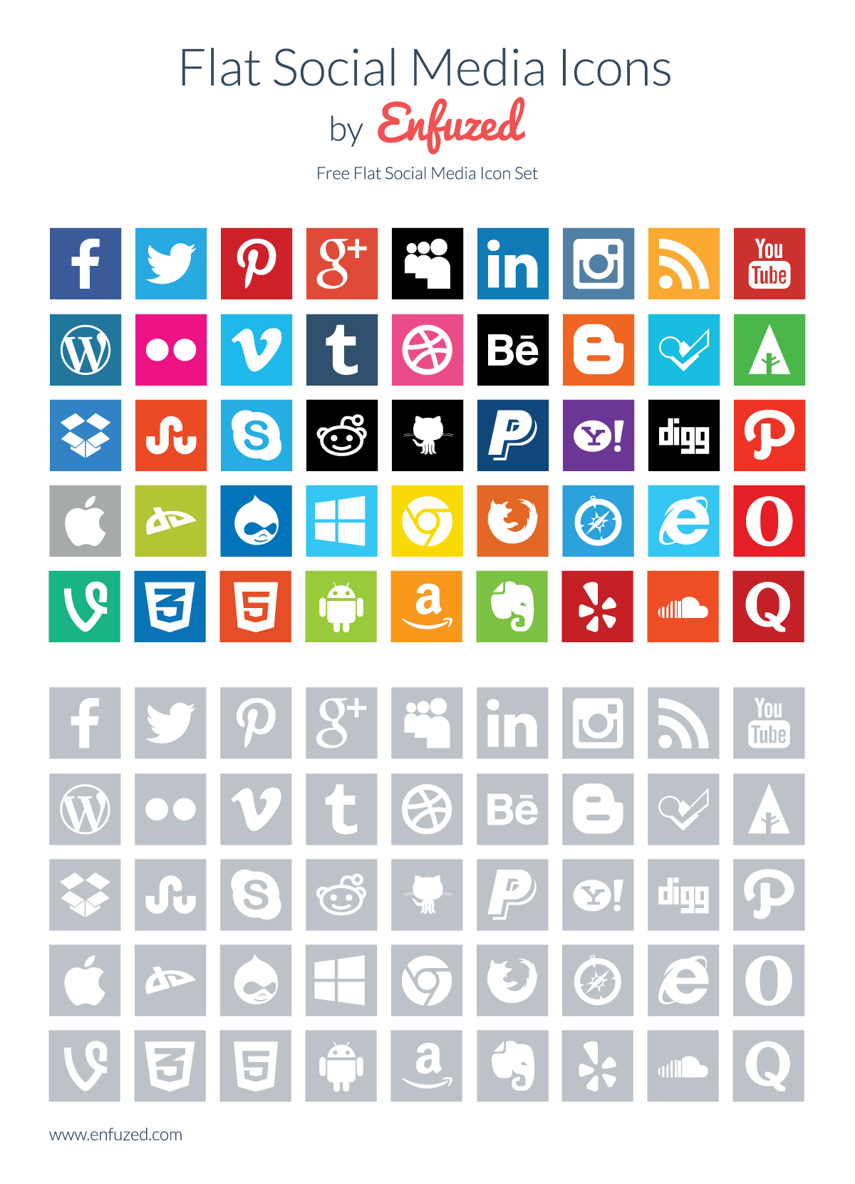 flat social media icons by enfuzed