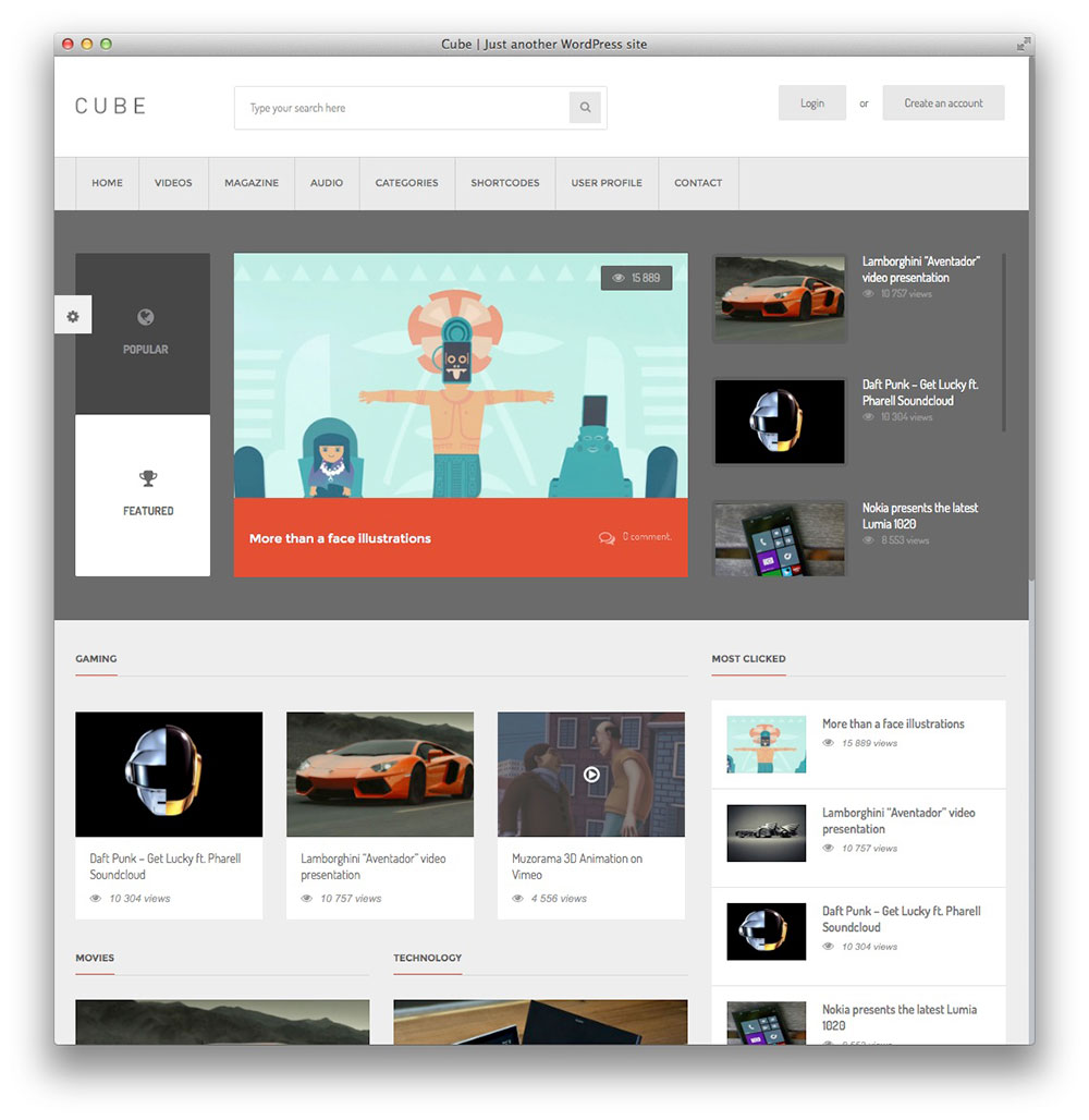 Cube WordPress Content Sharing Theme