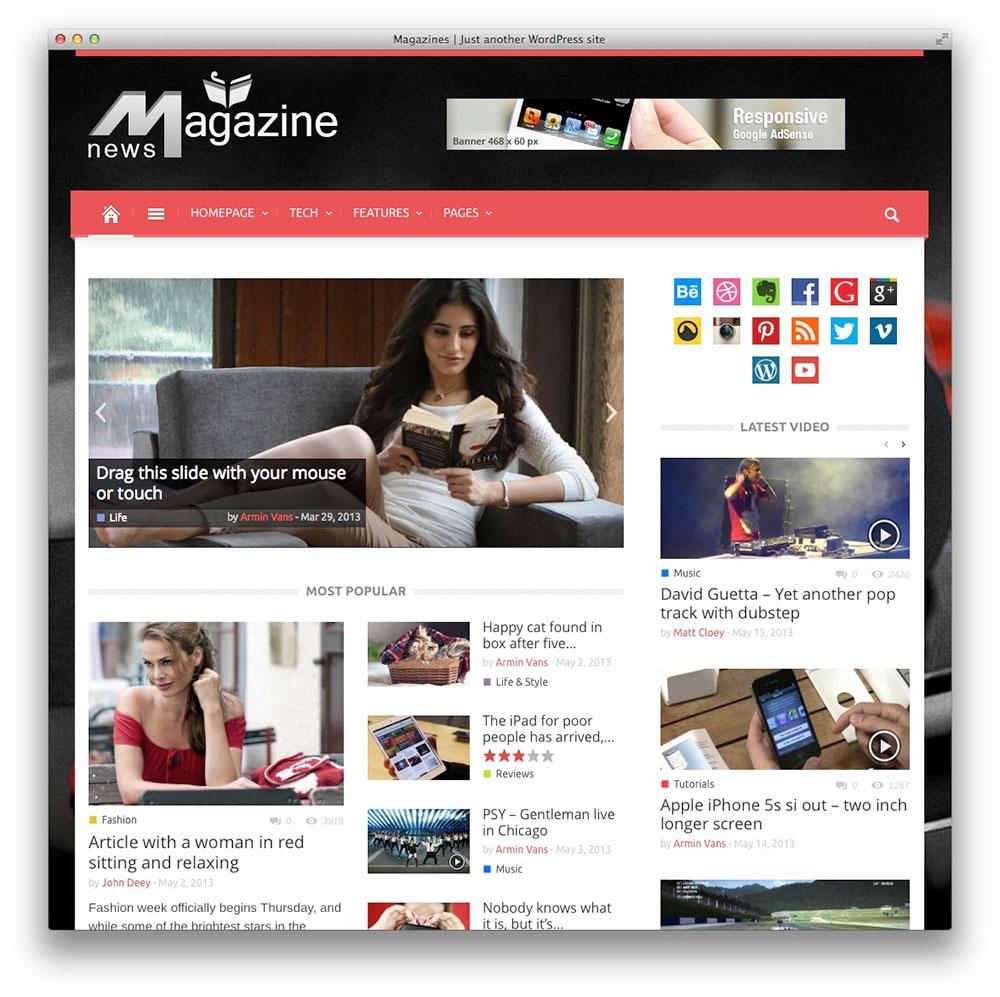Magazin WordPress notícias Tema