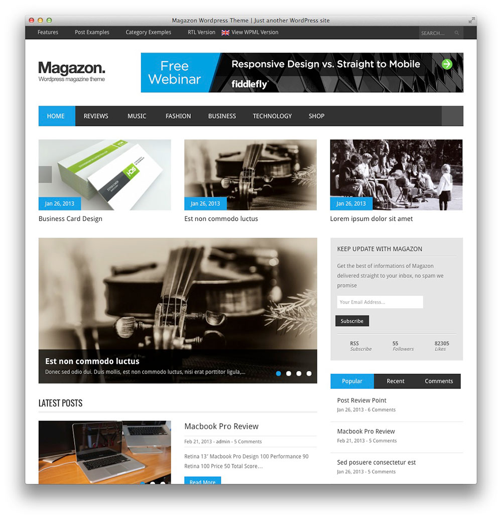 Magazon WordPress tema notícias