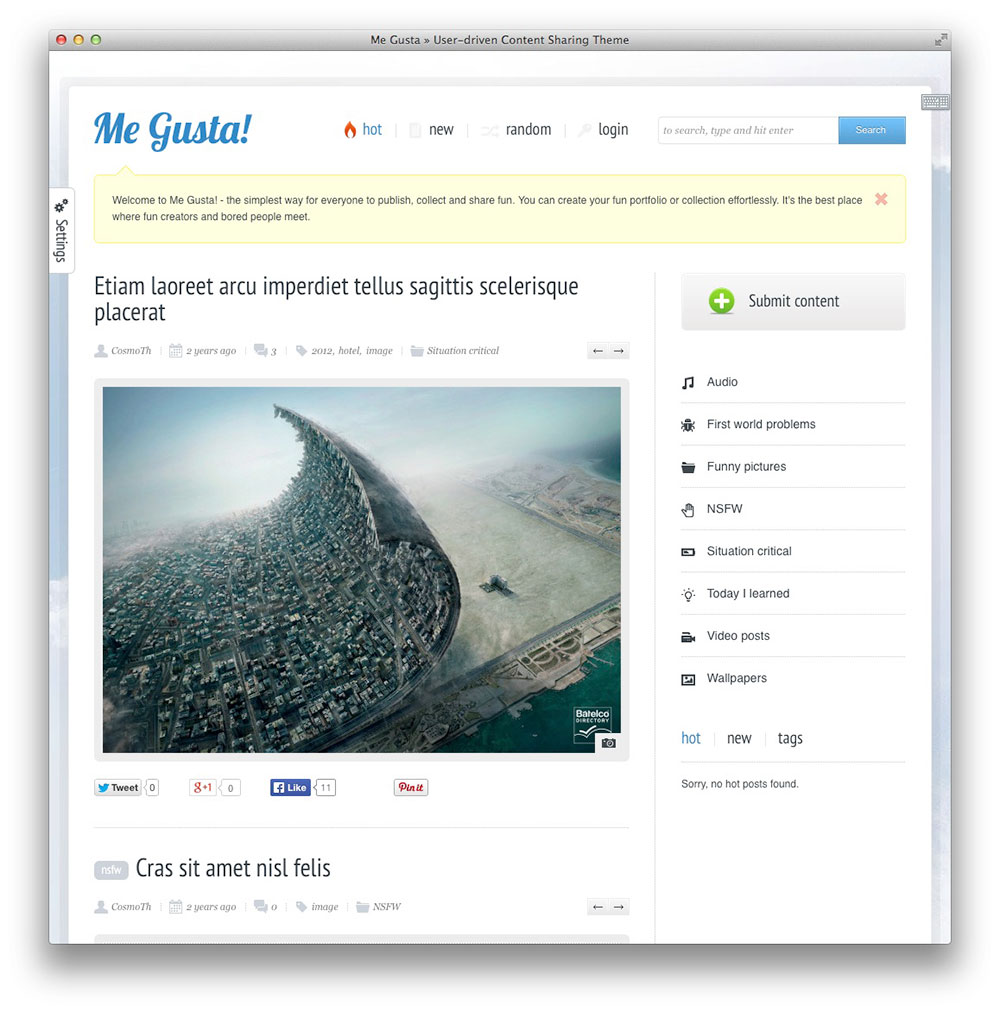 Me Gusta! Content Sharing Theme