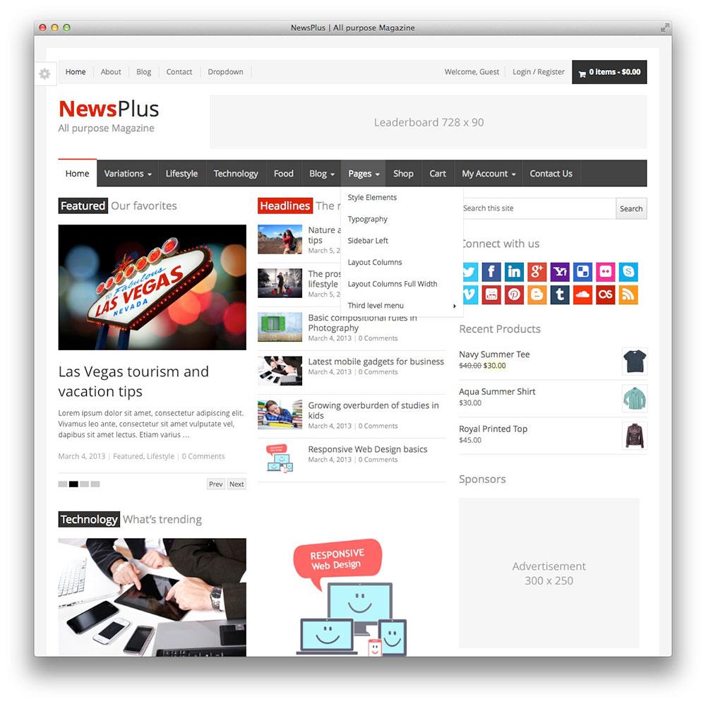 NewsPlus WordPress Tema Notícias