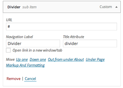 WordPress submenu divider