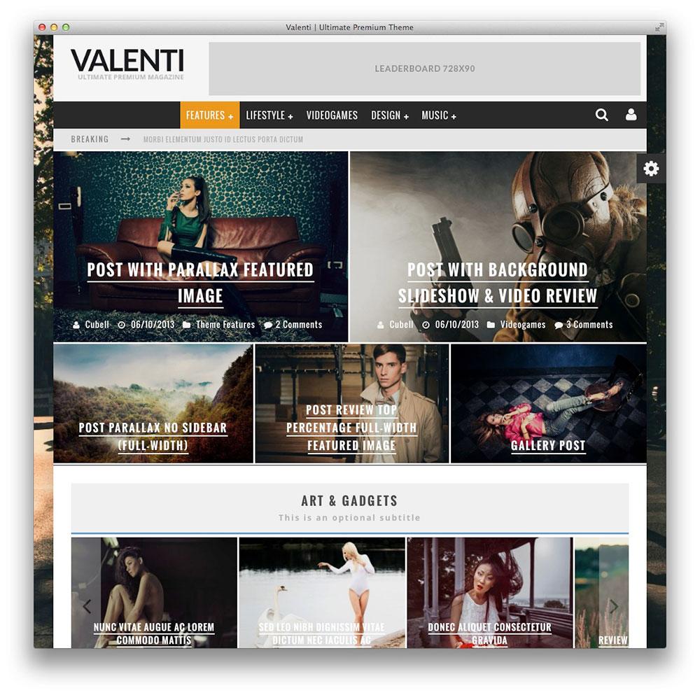 Valenti WordPress Revista Tema