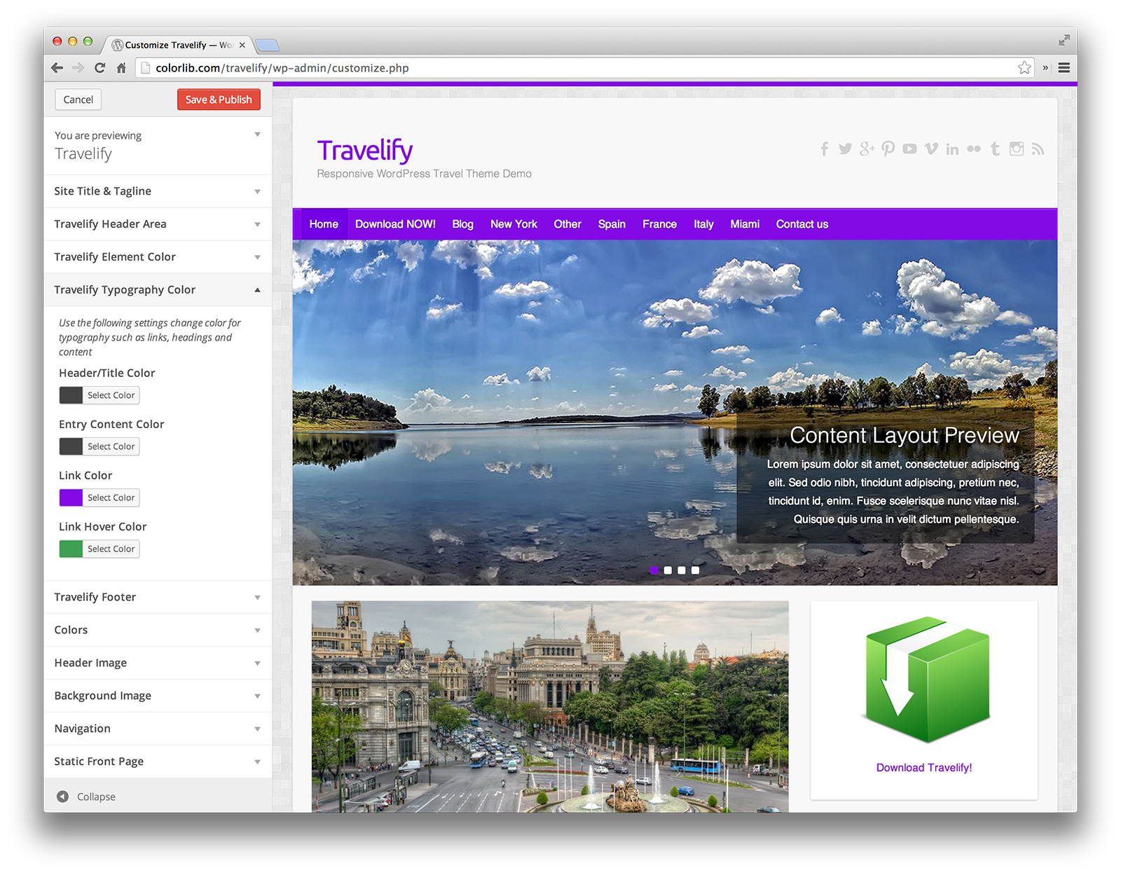 Travelify - change color