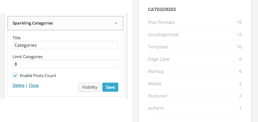 Sparkling categories preview in backend and frontend