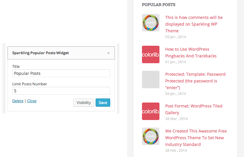 Sparkling popular post widget setup in backend and frontend preview
