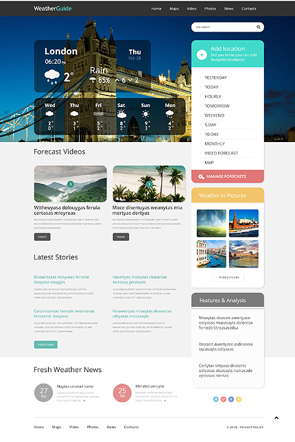 Weather Responsive WordPress Theme
