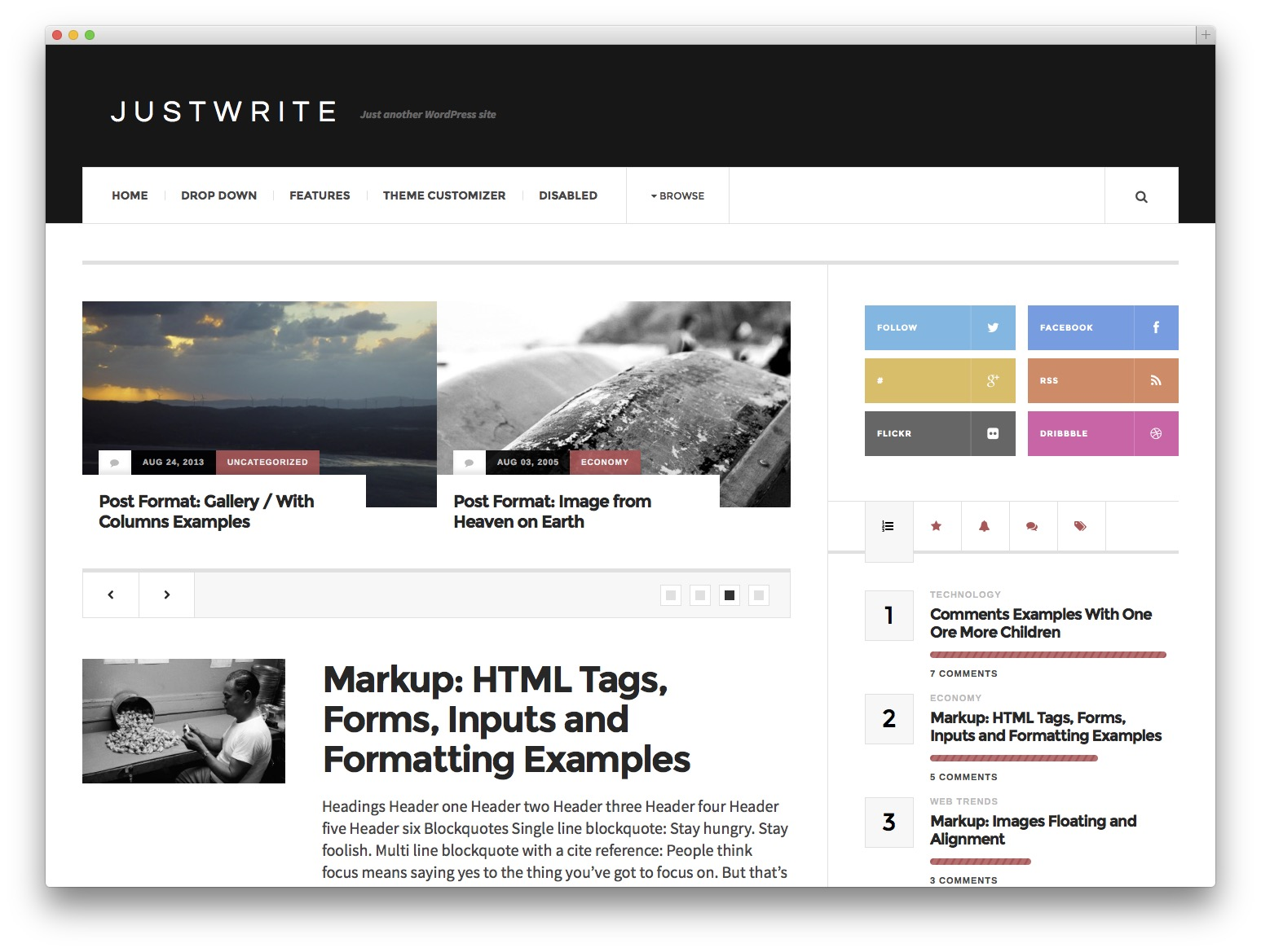 justwrite WordPress new theme