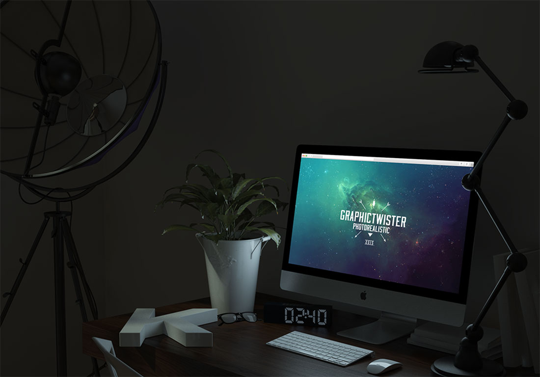 Free Glowing Night iMac Mockup in PSD