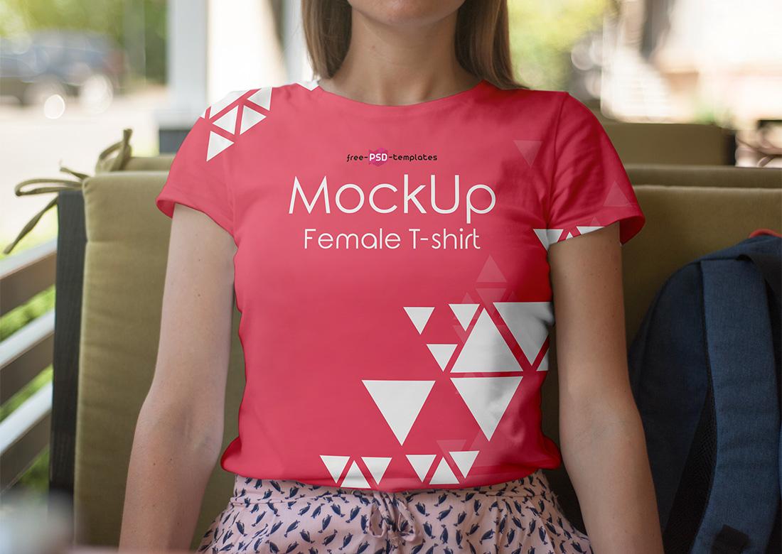 Female Shirt PSD Mockup
