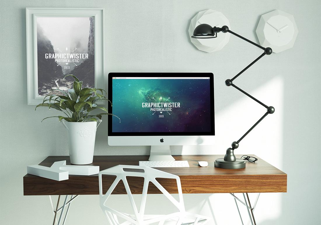 Free Modern Workspace Plus iMac Mockup in PSD