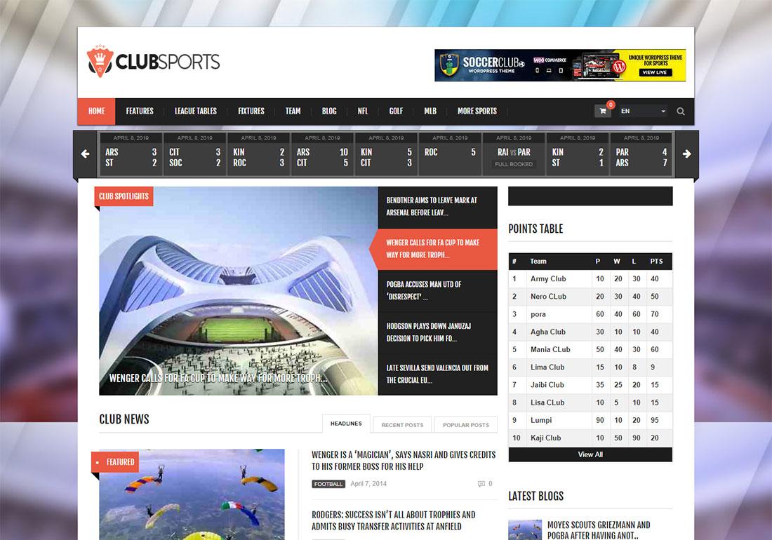 Club Sports baseball WordPress theme