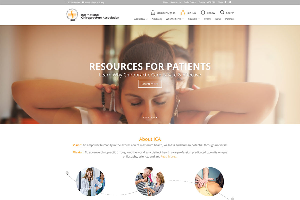 International Chiropractic Association website