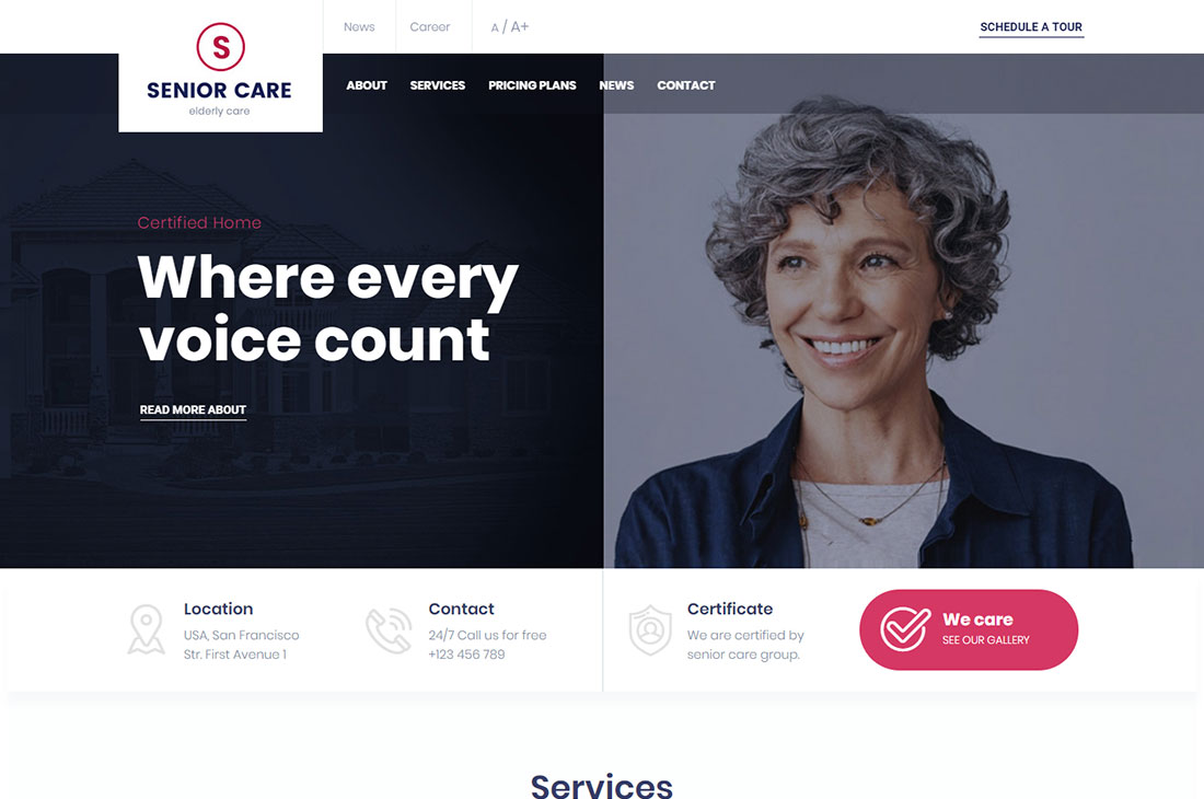 senior elderly care wordpress themes