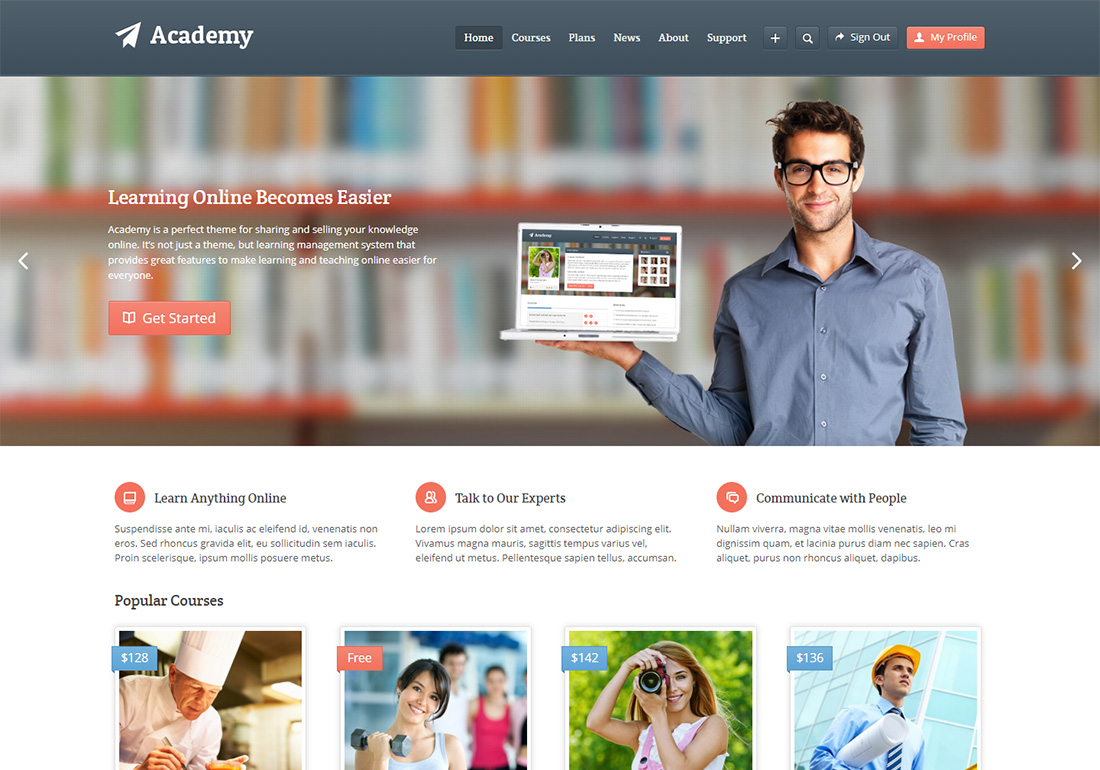 Academy online course WordPress theme