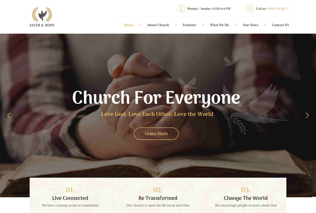 Faith & Hope WordPress Live Streaming Theme