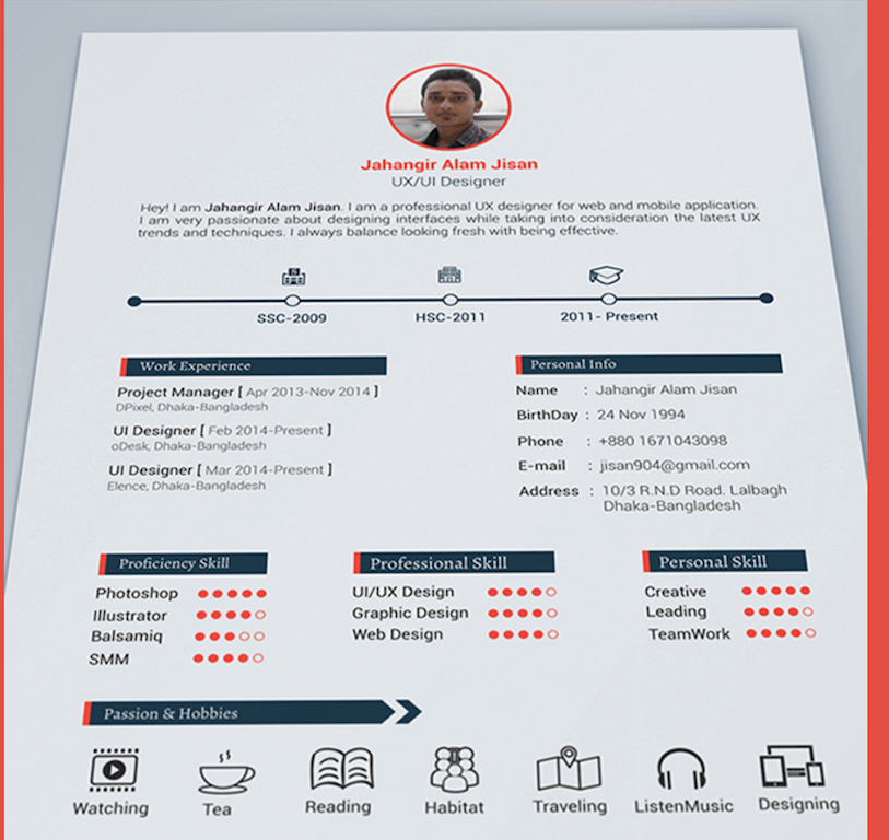 3 page resume template by jahangir alam jisan - One Page Resume Template